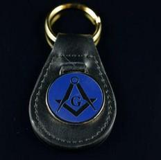 Blue on Leather Masonic Key Ring