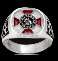 MR-151 SILVER KNIGHTS TEMPLAR RING WITH RED DETAILING