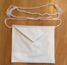 Entered Apprentice White Leather Presentation Apron  12 x 12 in  rope belt