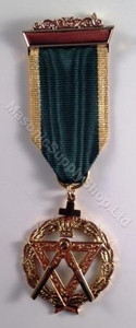 AMD Breast Jewel  Emerald Green with Gold Trim Ribbon  Elected Grand Officer