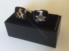 Square-Shaped Black Square & Compass Cufflinks