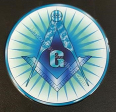 Car Decal  Square & Compass  with  G on Blue Rays     Free Shipping