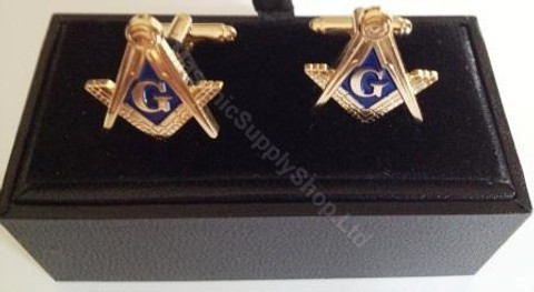 Square and Compass Cufflinks with a Gold Finish