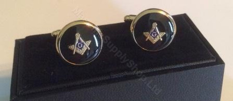 Cufflinks   Round   with   Square & Compass