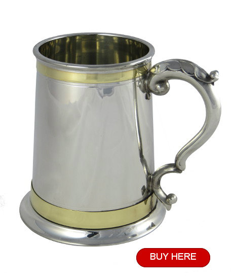 Monarch pewter tankard with two brass bands