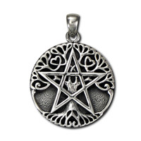 Sterling Silver Large Tree Pentacle Pendant