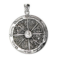 Sterling Silver Wheel of the Year Pendant