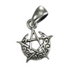 Sterling Silver Tiny Crescent Moon Pentacle Pendant