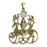 Bronze Rhiannon Pendant with Rainbow Moonstone