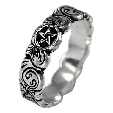 Sterling Silver Celtic Knot Pentacle Banshee Guardian Ring