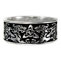 Wide Celtic Knot Dragon Ring Triquetra Ring