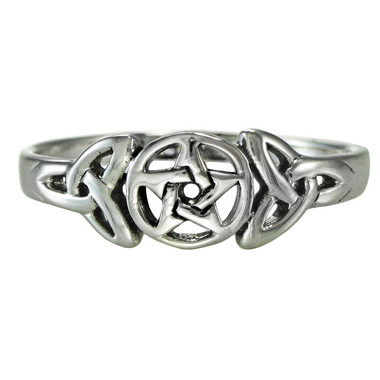 Sterling Silver Celtic Knot Pentacle Triquetra Pagan Wiccan Goddess Ring
