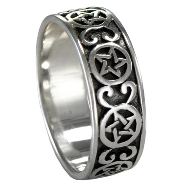 Silver Celtic Knot Pentacle Ring Band