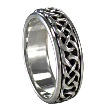 Silver Woven Celtic Knot Spinner Worry Ring