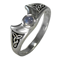 Crescent Moon Goddess Celtic Knot Triquetra Ring with Rainbow Moonstone