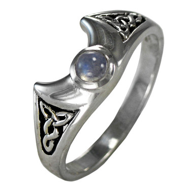 Crescent Moon Goddess Moonstone Celtic Knot Triquetra Ring