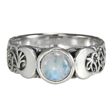 Triple Crescent Moon Goddess Rainbow Moonstone Ring
