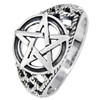 Sterling Silver Large Pentacle Ring