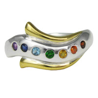 Sterling Silver Modern Seven Chakra Ring with Gold Vermeil