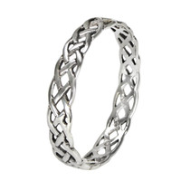 Narrow Sterling Silver Celtic Knot Weave Ring