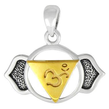 Ajna  Third Eye Brow Chakra Pendant - Sterling Silver Vermeil Jewelry
