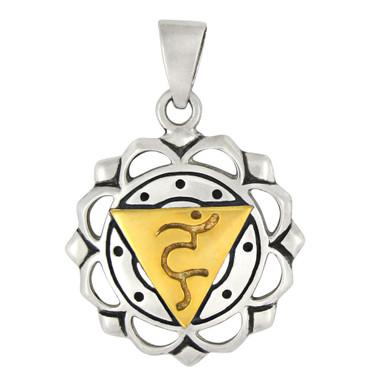 Vishuddha The Throat Chakra Pendant Sterling Silver Gold Plated