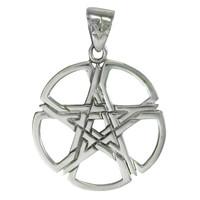 Pewter Septagram Overlapping Pentacle Pentagram Pendant Jewelry for Men or Women