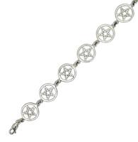 Sterling Silver Pentacle Link Bracelet