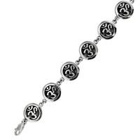 Sterling Silver OM AUM Link Bracelet Hindu Buddhist Jewelry