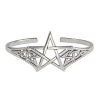 Sterling Silver Adjustable Cuff Pentacle Bracelet