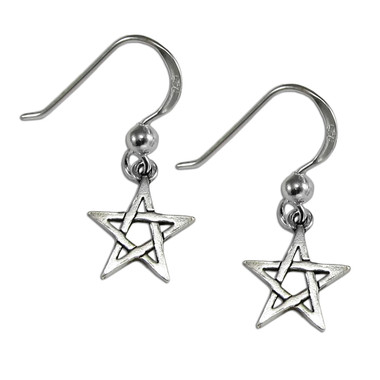 Sterling Silver Pentagram Dangle Earrings Wiccan Pagan Pentacle Jewelry