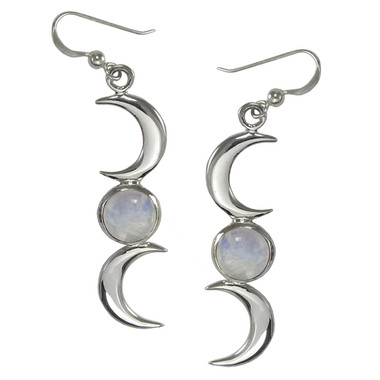 Sterling Silver Crescent Moon Phase Earrings with Rainbow Moonstone Jewelry