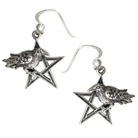 Sterling Silver Crow Raven Pentagram Earrings Wiccan Pagan Jewelry