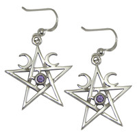 Sterling Silver Crescent Moon Pentagram Earrings with Amethyst Gemstone Jewelry