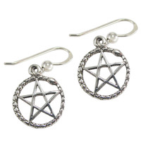 Sterling Silver Ouroboros Serpent Pentagram Earrings