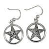 Sterling Silver Celtic Knot Pentacle Pentagram Star Earrings Wiccan Pagan Jewelry