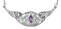 Elegant Victorian Sterling Silver Folding Collar Necklace with Amethyst Gemstone