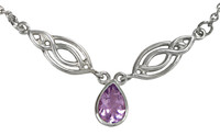 Sterling Silver Ornate Amethyst Drop Celtic Knot Collar Necklace