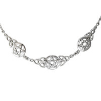 Sterling Silver Celtic Knot Triquetra Pentacle Necklace