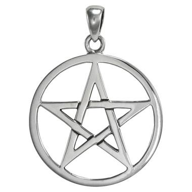 Large Sterling Silver Pentagram Pentacle Pendant