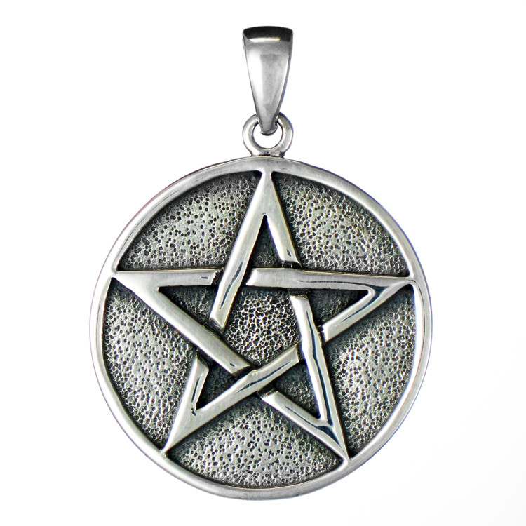 Large Solid Sterling Silver Wiccan Pentacle Pendant For