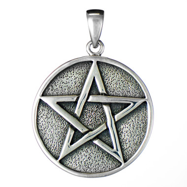 Large Solid Sterling Silver Pentacle Pendant