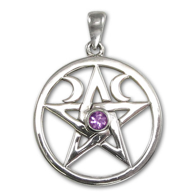 Sterling Silver Amethyst Wiccan Pentagram Pendant For Men