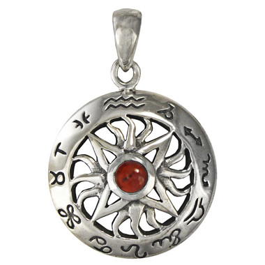 Sterling Silver Zodiac Sign Pendant with Garnet Sun Horoscope Jewerly