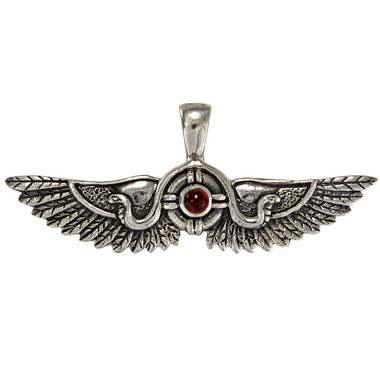 Sterling Silver Winged Sun Disk of Thebes Garnet Pendant