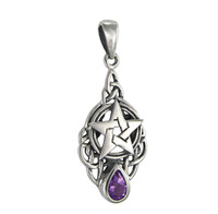Sterling Silver Celtic Triquetra Knot Pentacle Pendant with Amethyst Drop Jewelry