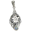 Sterling Silver Celtic Triquetra Knot Pentacle Pendant Rainbow Moonstone Drop Jewelry