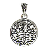 Sterling Silver Moon and Sun Tree of Life yggdrasil Pendant Jewelry