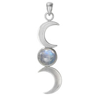 Sterling Silver Triple Goddess Moon Phase Pendant with Rainbow Moonstone Jewelry