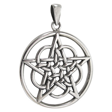 Large Sterling Silver Mystical Ringed Pentagram Pentacle Pendant for men or women Jewelry